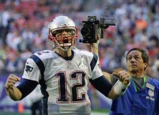 The Patriots' Tom Brady at Superbowl XLIX