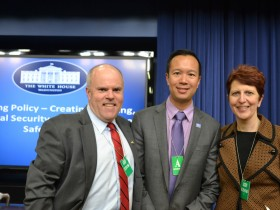 At the White House: Bob Linscott, Assistant Director, The LGBT Aging Project at The Fenway Institute; Linscott; Janson Wu, Executive Director, GLAD; and Lisa Krinsky, Director, The LGBT Aging Project at The Fenway Institute. (photo: courtesy Fenway Health)