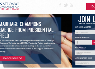 Screen capture from National Organization for Marriage (NOM) homepage, Aug. 30, 2015
