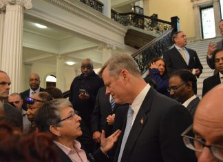 Massachusetts Governor Charlie Baker at a press conference announcing LGBT supplier diversity policy