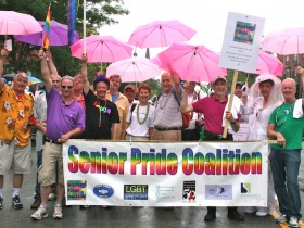 "LGBT seniors and friends at the 2015 Pride Parade. Check out ""Pride Events for LGBT Older Adults and Their Friends"" below to find out how to join in the 2016 festivities. Photo courtesy of LGBT Aging Project."