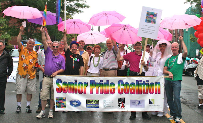 """LGBT seniors and friends at the 2015 Pride Parade. Check out """"Pride Events for LGBT Older Adults and Their Friends"""" below to find out how to join in the 2016 festivities. Photo courtesy of LGBT Aging Project."""