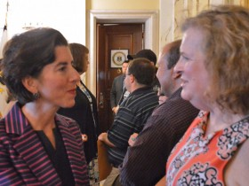 Rhode Island Governor Gina Raimondo meeting with a transgender activist. Gov. Rhode Island is now providing health insurance coverage for gender transition services, the governor recently announced. Photo courtesy   of the governor's office.