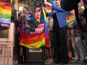 More than 125 Salem community members came together at an August 28 ceremony to unveil a new Rainbow Times newspaper box, which replaced one that vandals exploded with a firework less than a week before.  Photo courtesy of Rainbow Times