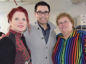 (From left:) 2017 Boston Pride Parade Grand Marshal Kristen Porter with Boston Pride President and Vice President Sylvain Bruni and Linda DeMarco. Photo courtesy of Boston Pride.