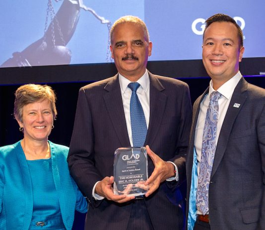 Eric Holder,Mary Bonauto, Janson Wu,GLAD,Spirit of Justice Award Dinner